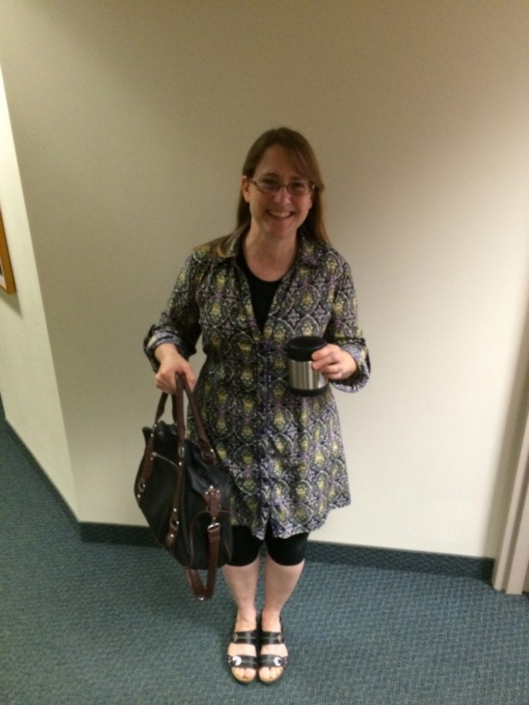 Remember the photos your parents took of your first day of school? Here's my recent first day of school—teaching my fall college classes. I still get excited (and nervous) at the beginning of the school year.