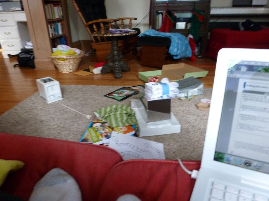 Here's what my house looks like when I am writing on a deadline. There is a toaster on the floor. We don't own a toaster.